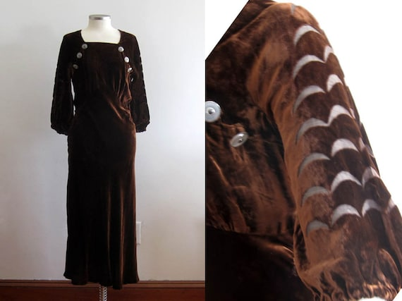 1930s Brown Velvet Gown / 30s Silk Velvet Dress /