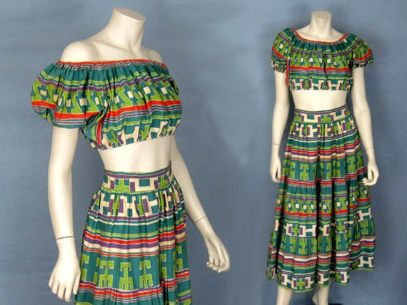 1940s Resort Wear Crop Top & Maxi Skirt Beach Set