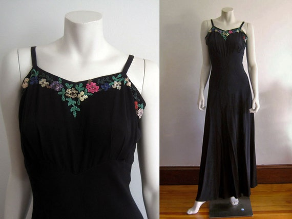 1940s Gown / 40s Evening Gown / Black Silk  Cellul