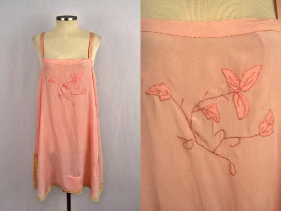 1920s Pink Silk Step-In Teddy Lace Trim / Embroide