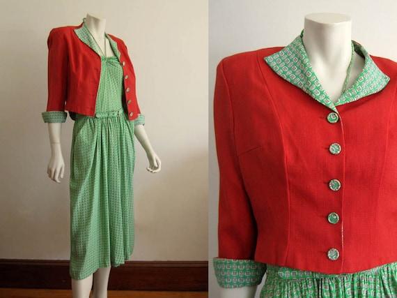 1940s Dress / 40s Halter Dress Jacket / Printed Si