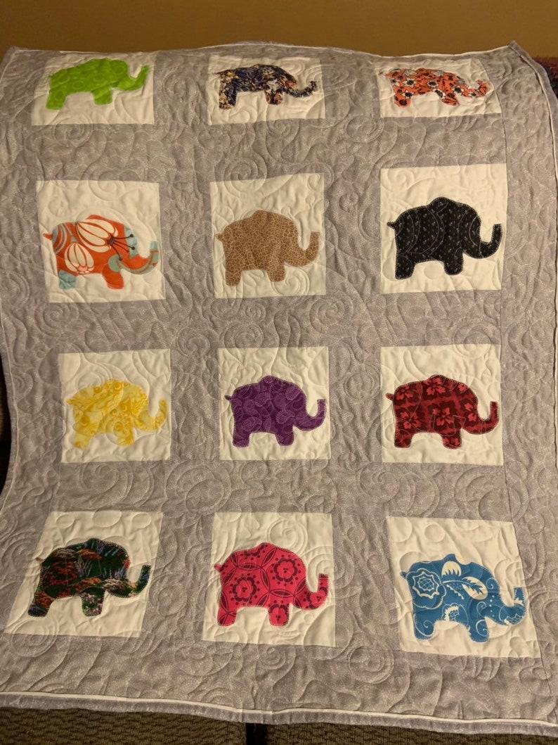 Baby Elephant Applique Quilt