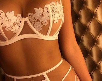 Bridal lingerie set White flower - sexy sheer three piece lingerie - embroidered flower transparent lingerie - boudoir lingerie see through
