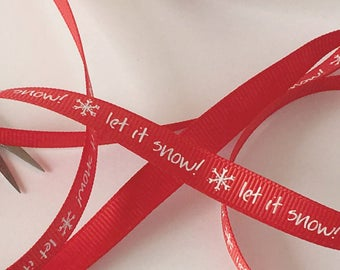 5m Christmas Grosgrain Ribbon Red Christmas Ribbon 9mm x 5m Red Ribbon 'Let it Snow' Gift Packaging Christmas Gift Wrapping Holiday Ribbon