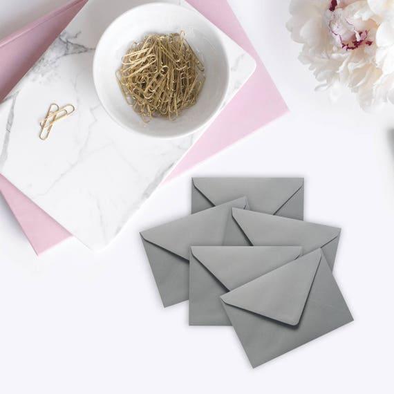 50 Petites Enveloppes Gris Mini Rocaille Pour Cartes De Visite Note Invitations