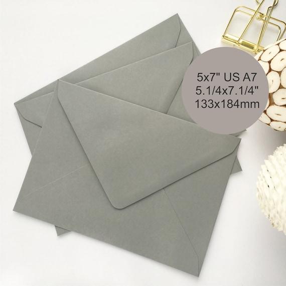 25 5x7 Envelopes Grey Gray Us Size A7 Envelopes Wedding Etsy