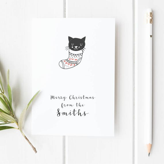 Personalized Christmas Card Cat Christmas Card Custom Etsy