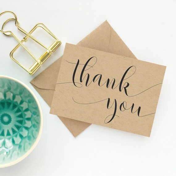 thank you note cards kraft thank you card set with envelopes etsy