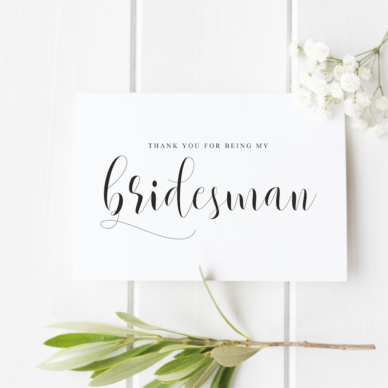 Wedding Thank You Card Thank You For Being My Bridesman Bridesman Thank You Card Bride Tribe Thank You Card
