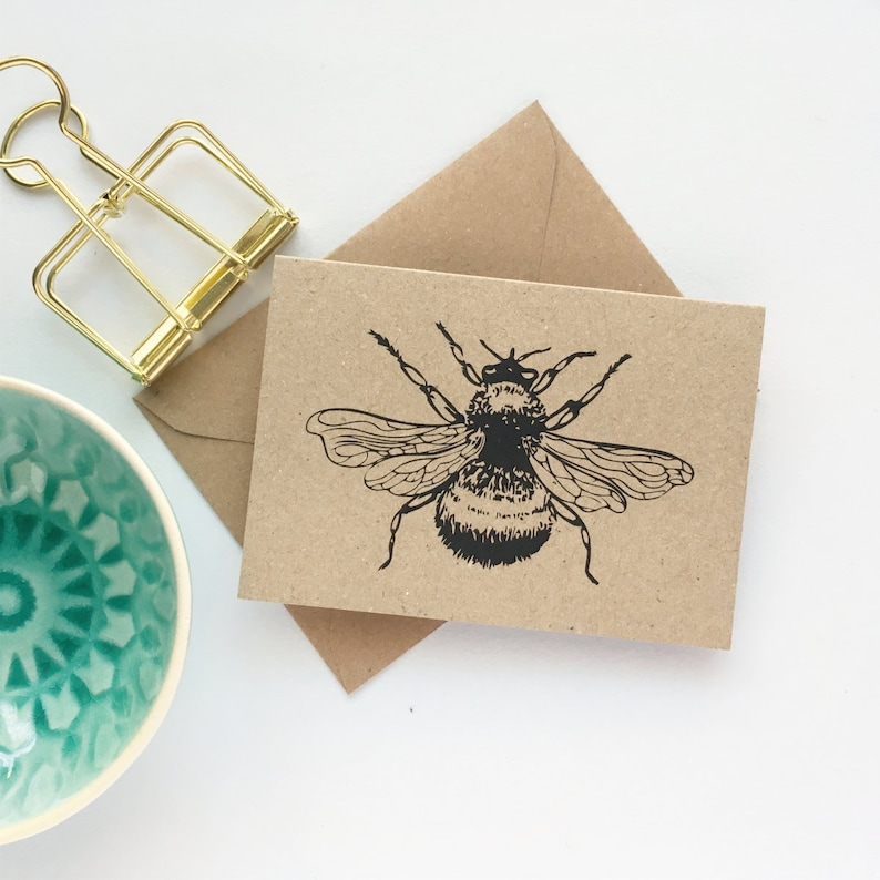 Note Cards with Envelopes MINI SIZE Bee Thank You Cards Eco image 0
