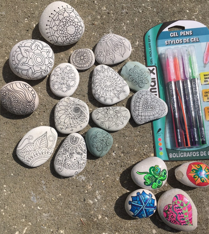 Set Of 12 Adult Coloring Rocks Zentangle Relaxation Etsy