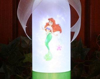 Princess Ariel  Little Mermaid  Bottle Lights  Lamp  Girls Bedroom Decor   Birthday