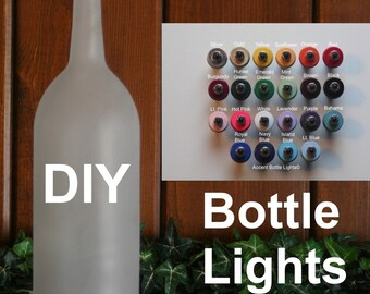Bottle Light Kit- DIY Lamp- Decorate Frosted Glass- Arts and Crafts- Make Your Own- Light Up Decor- Gifts for Artists Painters- LED- Battery