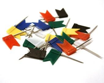 Map pins - set of 20. Flag push pins. Cork map pins. Red flag pins. Blue flag pins. Red flag pins. Green flag pins. Black flag pins