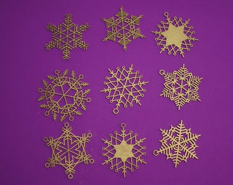 """Stars & Snowflakes -- 3.5"""" Christmas Ornament Designs,  Digital Patterns for a Laser to Cut from wood, MDF, or Acrylic."""