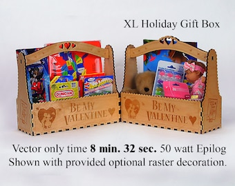 Valentine Letter Gift Box, Digital Laser Pattern to use with your raster or laser cutter.