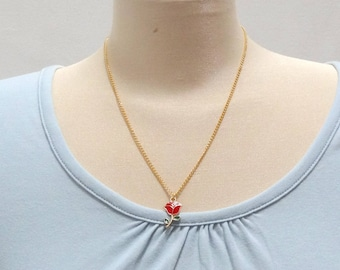 Gold Plated and Red Rose Necklace - Ready to Ship