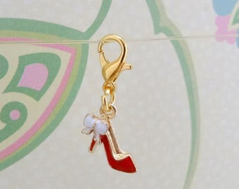 Gold Plated and Red High Heel Shoe Clip On Bracelet Charm/Purse Charm/Zipper Pull Charm/Planner Charm/TN Accessory Charm - Ready to Ship