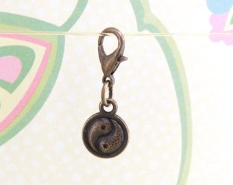 Bronze Double Sided Yin Yang Clip On Bracelet Charm/Purse Charm/Zipper Pull Charm/Planner Charm - Ready to Ship