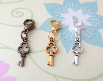 Gold, Silver or Bronze Key Clip On Bracelet Charm/Purse Charm/Zipper Pull Charm/Planner Charm - Ready to Ship