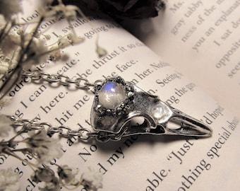 Moonstone Crow Skull Pendant Necklace