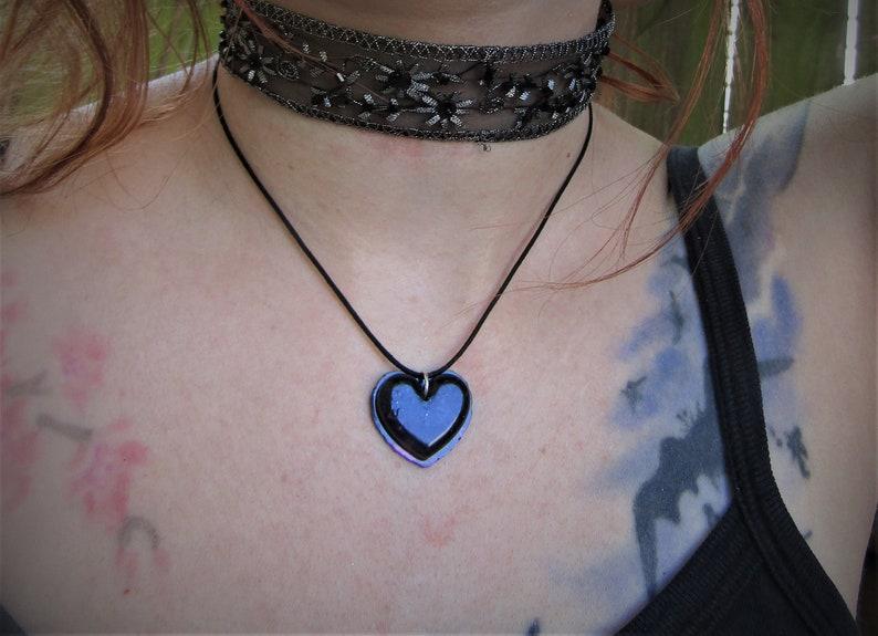 Black Heart Resin Pendant