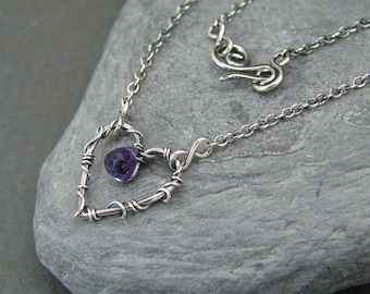 Silver heart necklace ~ Amethyst ~ February birthstone jewellery ~ Wire wrapped ~ Anniversary gift ~ Unique gift for wife ~ Valentines gift