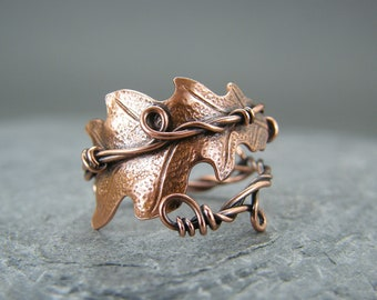 Leaf ring ~ Oak leaf ring ~ Thumb ring ~ Adjustable ring ~ Copper ring ~ Copper rings ~ Bohemian jewelry ~ Nature inspired ~ Leaves ring ~