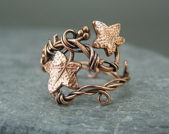 Copper ring ~ Leaf ring ~ Adjustable ring ~ Adjustable leaf ring ~ Ivy leaf ring ~ Thumb ring ~ Unique leaf ring ~ Rings for women ~ Ivy