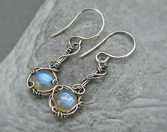 Labradorite earrings ~ Labradorite jewellery ~ Labradorite dangle earrings ~ Silver labradorite earrings ~ Blue labradorite ~ Silver drop