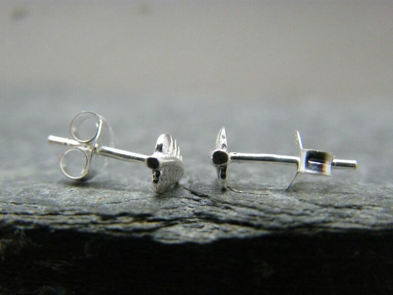 Silver leaf studs ~ Sterling silver stud earrings ~ Leaf earrings ~ Tiny studs ~ Minimalist earrings ~ Silver stud ~ Stocking filler for her