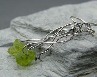 Peridot dangle earrings ~ Peridot earrings ~ Raw crystal earrings ~ Sterling silver ~ Elegant earrings ~ Raw peridot ~ Peridot crystals