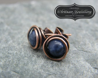 Blue gemstone studs ~ Simple delicate stud earrings ~ Copper stud earrings ~ Low cost gift for best friend ~ Copper anniversary gift for her