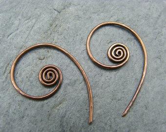 Sleeper hoops ~ Hoop earrings ~ 1 inch hoops ~ Sleepers ~ Copper hoop earrings ~ Spiral hoops ~ Spiral hoop earrings ~ Minimalist hoops