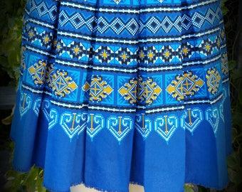 Blue Hmong Printed Mini Skirt