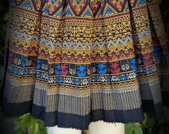 Golden Hmong Printed Mini Skirt
