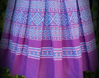 Purple Hmong Print Mini Skirt