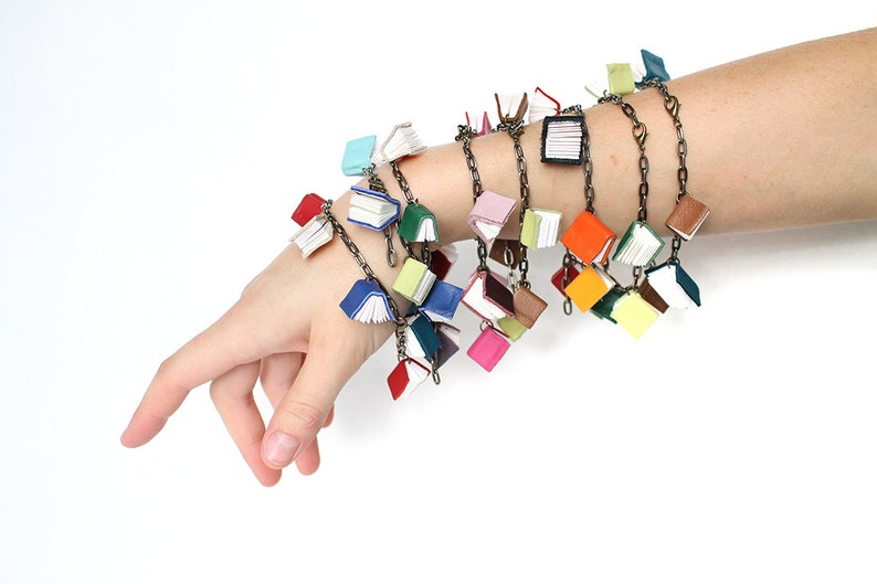 Handmade Book Jewelry Mini Book Bracelets in Limited Edition Colors Gift for a Librarian or Book Lover Chain with Tiny Leather Books