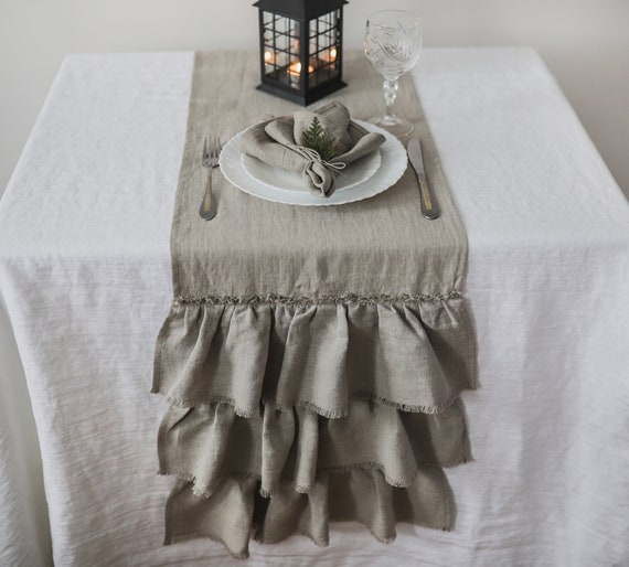 100/% Pure Linen Table Runner Ruffle Shabby Chic and Farmhouse Decor WHITE