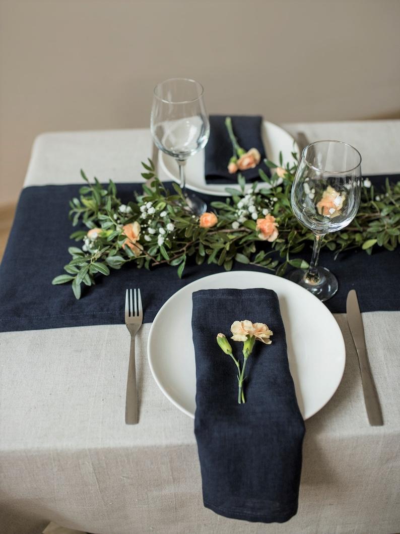Dark Blue Wedding Table Napkins Navy Blue Linen Napkin Etsy