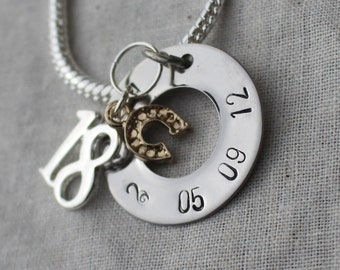Sterling silver 18th Birthday Horse Shoe Personalised Hand Stamped Bracelet - Express post