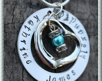 Express post Love Heart and Bead Personalised Hand Stamped Necklace