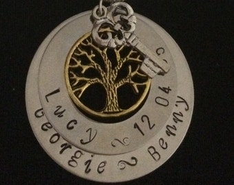 Double Tree and key Pendant Personalised Hand Stamped Necklace