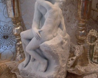 Lovers Kissing Chalkware Vintage Shabby Chic Statue  BostonBackBay Antiques & Collectibles  We Ship Internationally