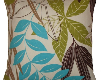 French Saint-Tropez Blue & Green Leaf Cushion