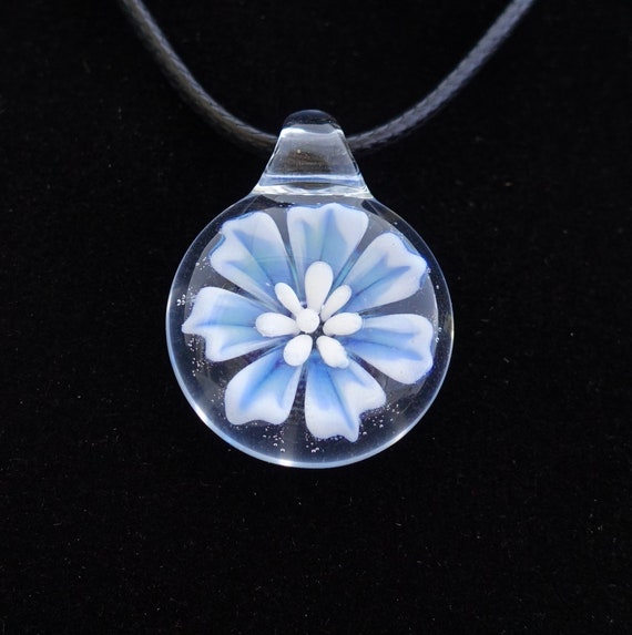 Lampworked Glass 3D Flower Pendent with Turquoise Flower Implosion and Teal Bail  Girly Necklace