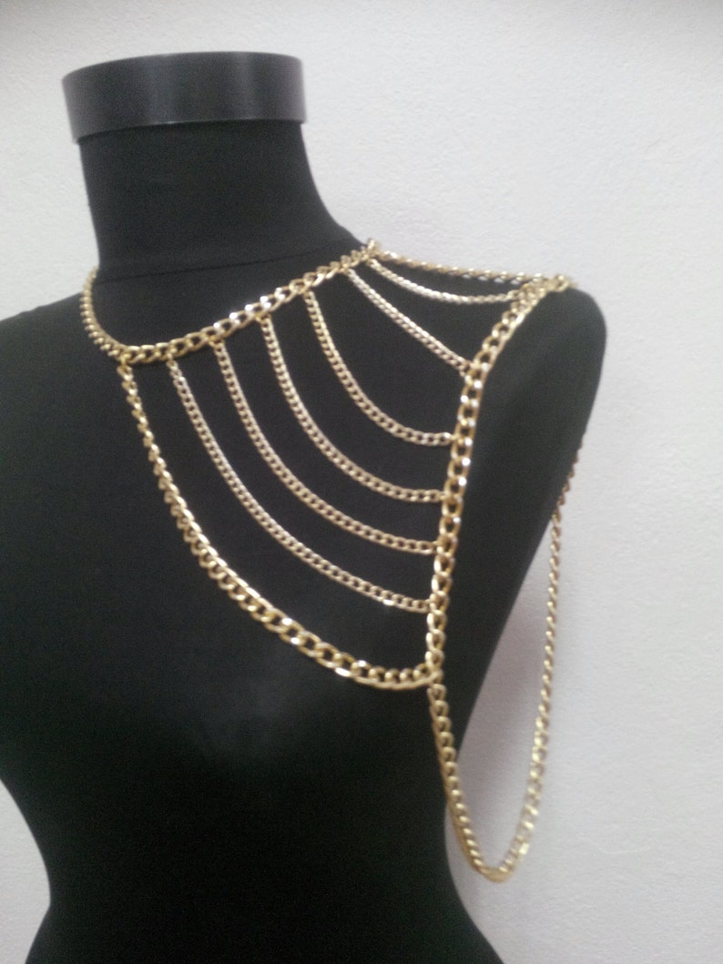 Gold shoulder chainshoulder necklacebody chainbody necklace image 0
