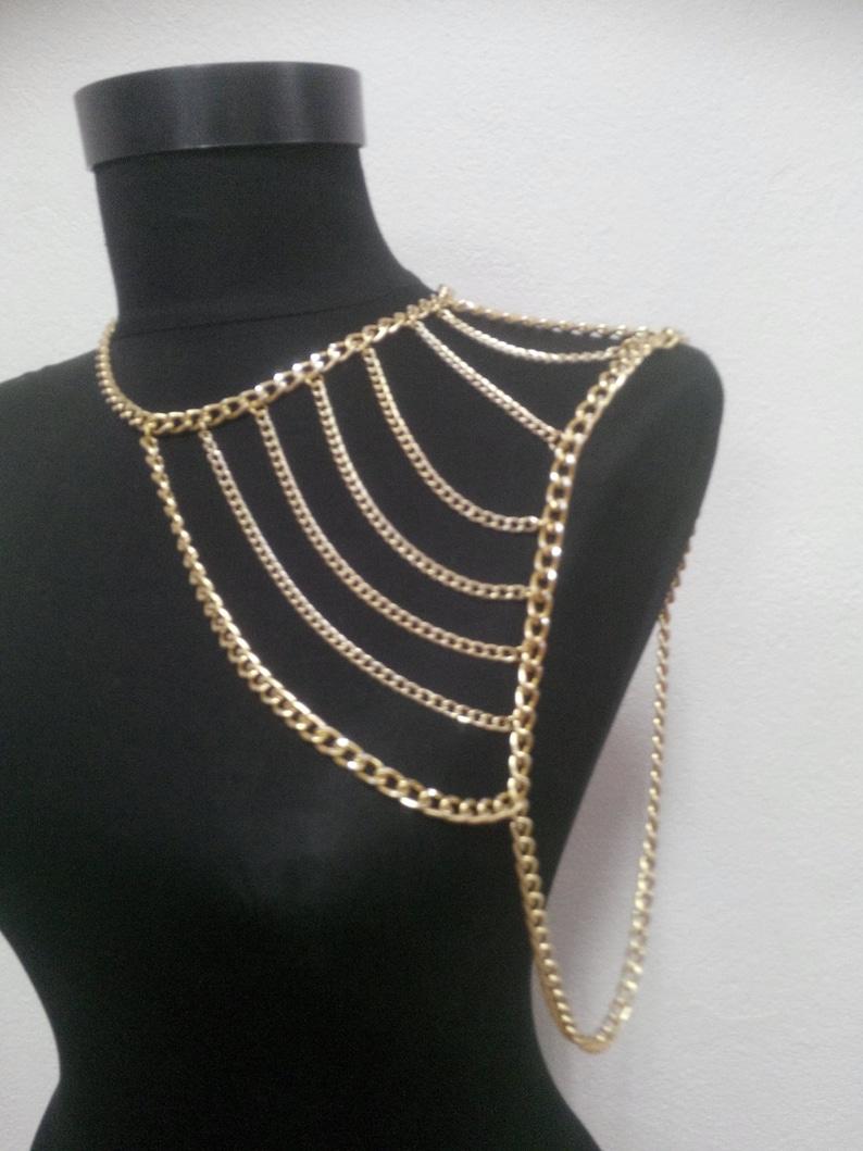 Gold shoulder chainshoulder necklacebody chainbody necklace image 0