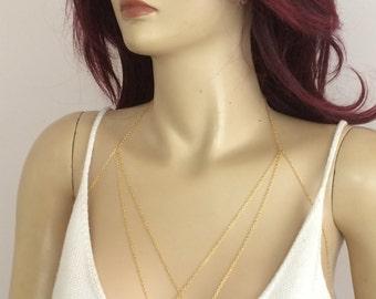 Triangle Gold Chain Bra, Gold Body Chain, Chain Bra, Chain Bralette, Gold Body Harness