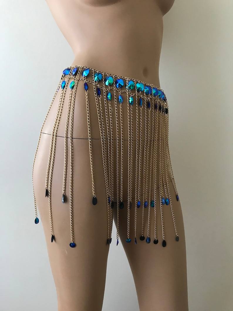 Festival Outfit Bodychain Blue sparkly chain skirt Sparkling body chain Festival Jewelry